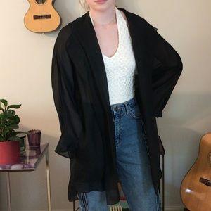 Black Sheer Donna Karan Cardigan With Hood
